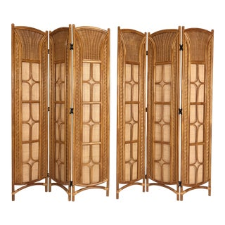 Rattan and Caned Folding Screens - A Pair For Sale