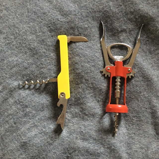 Contemporary Vintage Italian Corkscrews in Red and Yellow - a Pair For Sale - Image 3 of 9