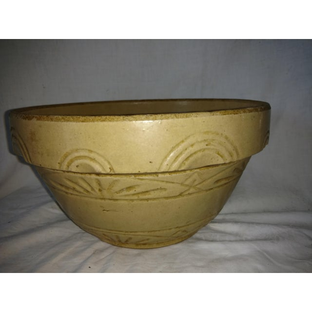 Folk Art Antique 19th Century Primitive Yellow Stoneware Bowl For Sale - Image 3 of 8