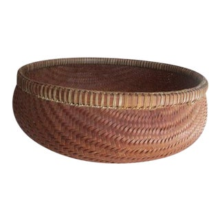 Native American Faux Bamboo Tightly Woven Basket For Sale