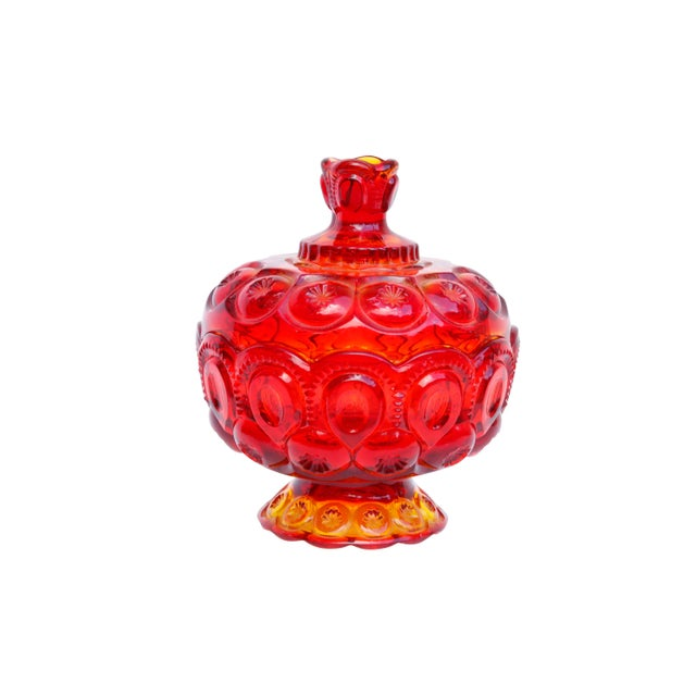 Yellow L. E. Smith Amberina Lidded Glass Candy Dish For Sale - Image 8 of 8