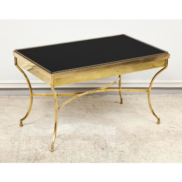 Gold Brass Coffee Table with Smoked Glass and Galleried Top For Sale - Image 8 of 8