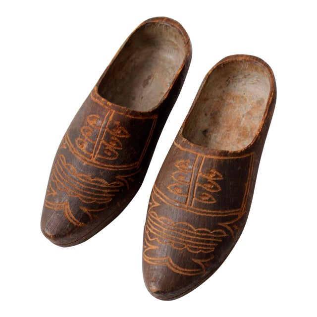 58424447e3197 Antique Dutch Carved Wooden Clogs - A Pair