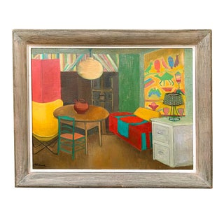 Vintage Folk Art Modern Decor Oil Painting 24x28 For Sale