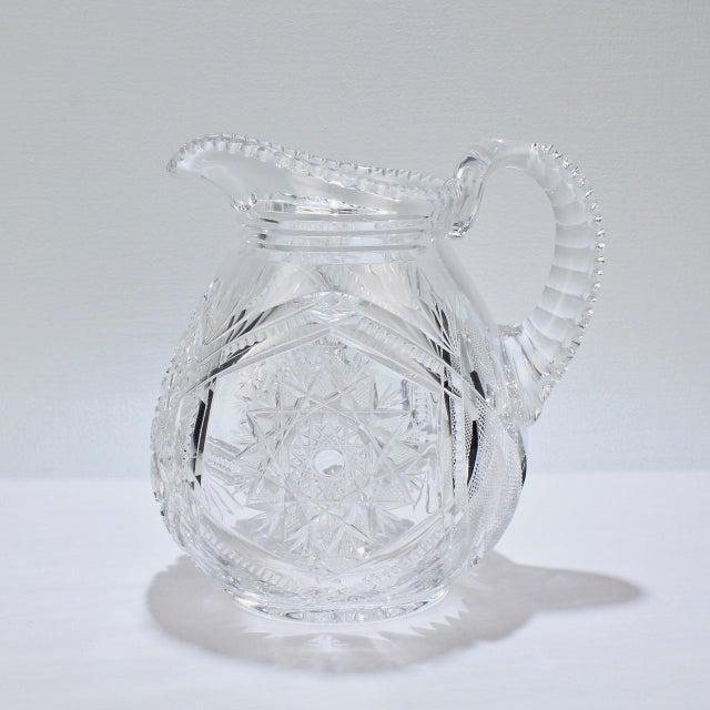 A very fine old or antique cut glass pitcher. Possibly American in origin and dating as early as the American Brilliant...