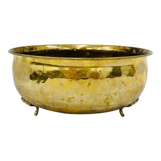 Vintage Footed Brass Jardiniere Cache Pot For Sale