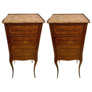 Louis XV Style Lingerie Chests or Pedestals, Floral Inlaid With Four Drawers For Sale