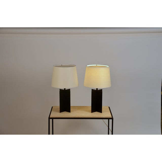 Medium 'Croisillon' Matte Black Steel Table Lamps by Design Frères - a Pair For Sale - Image 10 of 11