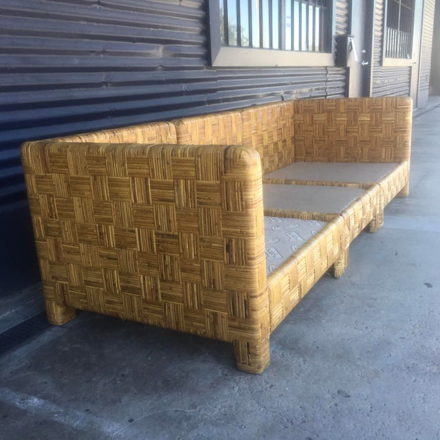 Vintage Woven Caning Sectional Sofa - Image 5 of 11