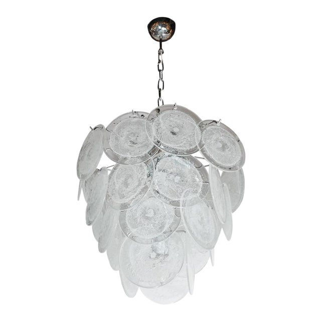 Luxury modernist vistosi style chandelier in chrome and textured modernist vistosi style chandelier in chrome and textured murano glass discs image 1 of 10 aloadofball Choice Image