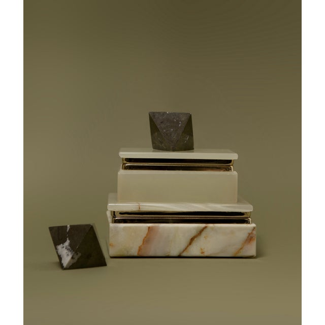 Art Deco Mori Green Marbled Mineral Box For Sale - Image 3 of 4