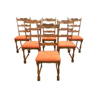 Set of Six Vintage French Newly Upholstered Coral Velvet Ladderback Oak Dining Chairs For Sale