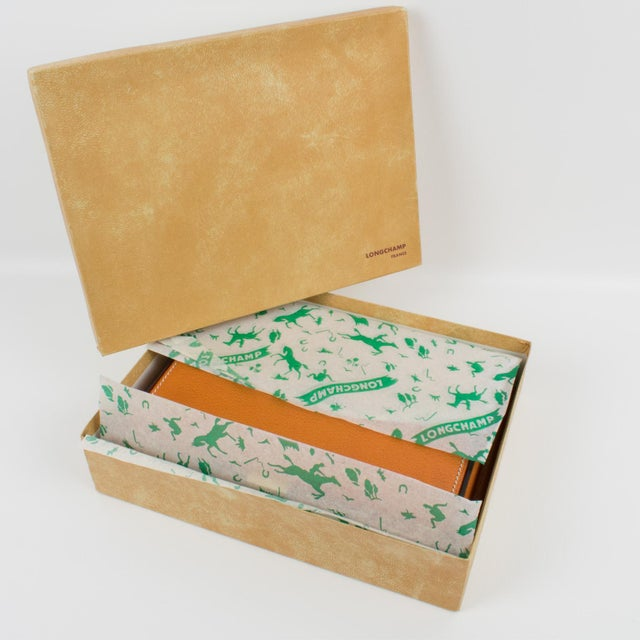 Mid-Century Modern Longchamp Hand-Stitched Leather Box For Sale - Image 3 of 13