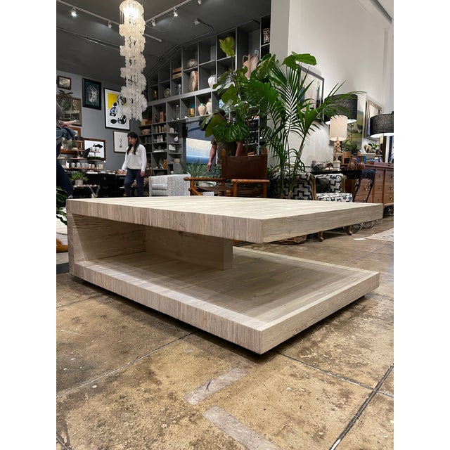 Wood Cantilever Oak Coffee Table For Sale - Image 7 of 7