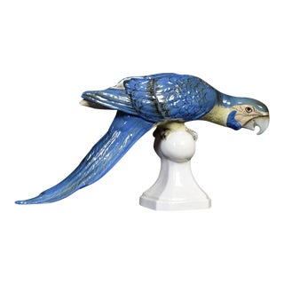 Mid Century Tropical Ceramic Blue Macaw by Royal Dux For Sale