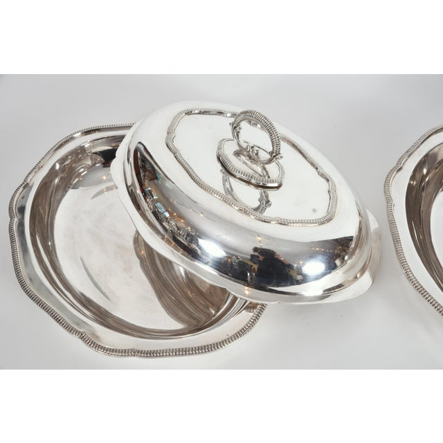 Late 20th Century Vintage English Silver Plated Tableware Serving Dishes - a Pair For Sale - Image 5 of 12