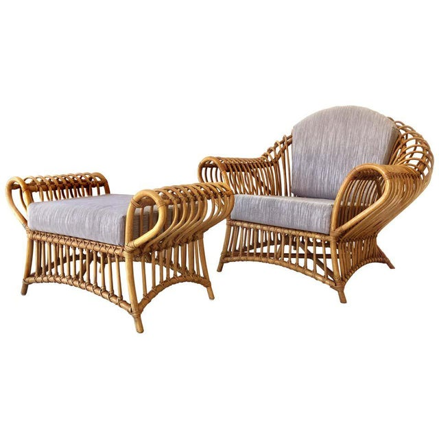 Blue Franco Albini Rattan Chair and Ottoman Set, 1980s For Sale - Image 8 of 8