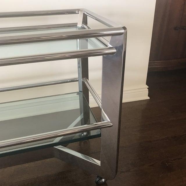 Minimalism Chrome & Glass Shelf Buffet For Sale - Image 3 of 4