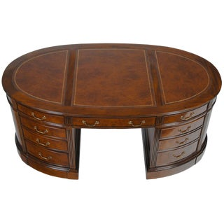Niagara Furniture Traditional Burled Oval Partners Desk For Sale