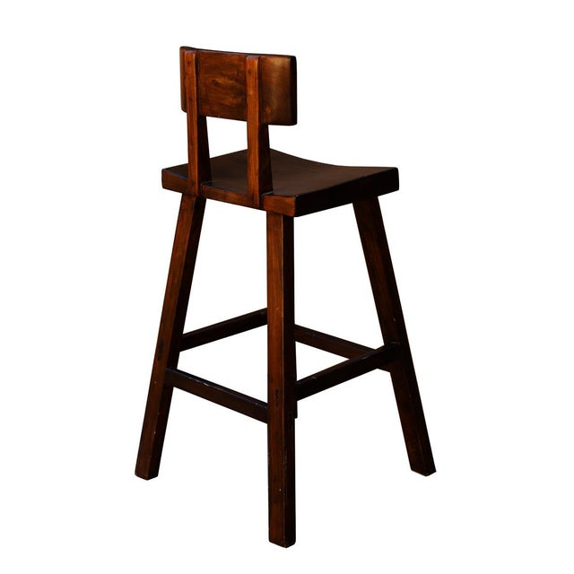 Handmade Solid Wood Bar Stool For Sale - Image 5 of 6