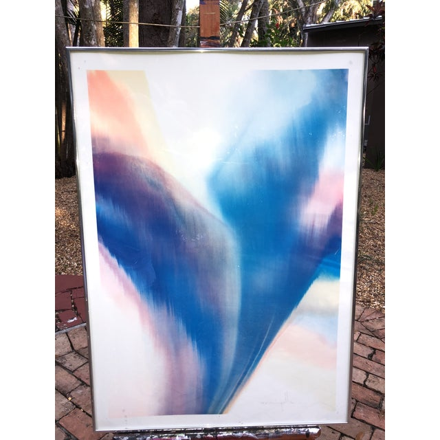 1960s 1960s Vintage Dom Mingolla Hand Signed & Framed Abstract Watercolor Painting For Sale - Image 5 of 6