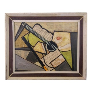 Vintage Mid-Century Cubist Musical Instrument Mixed Media Painting For Sale