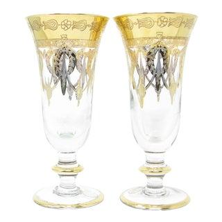 Vintage Same Cristallerie Italy Glass and 24k Gold Encrusted Footed Goblets Glasses - Set of 2 For Sale