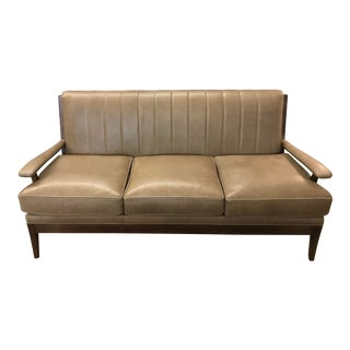 Leathercraft Channelled Leather Sofa With Wood Arms For Sale