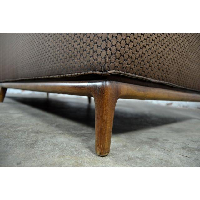 Mid-Century Tufted Tuxedo Sofa on Walnut Base - Image 6 of 10