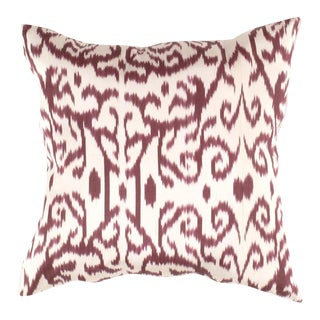 Red Color Turkish Rust Silk Ikat Pillow For Sale