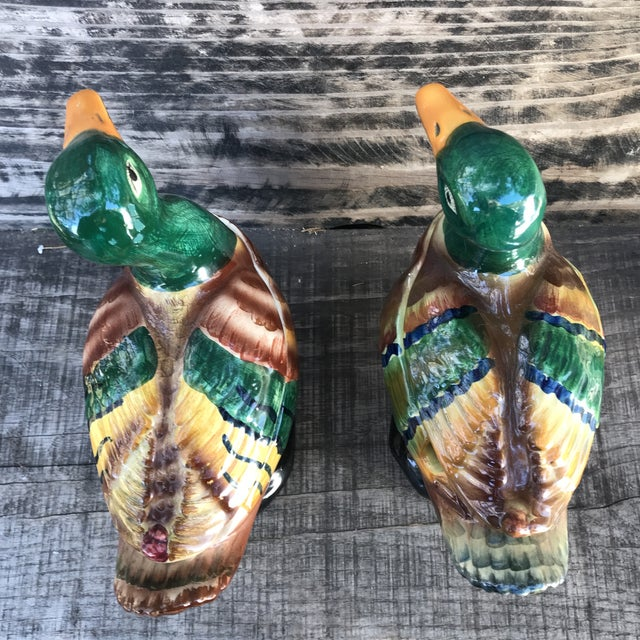 Green Majolica Italian Hand-Painted Mallard Duck Soup Tureens with Salt & Pepper Shakers Set of 7 For Sale - Image 8 of 13