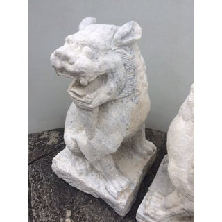 Hand Carved White Granite Foo Dogs - A Pair Preview