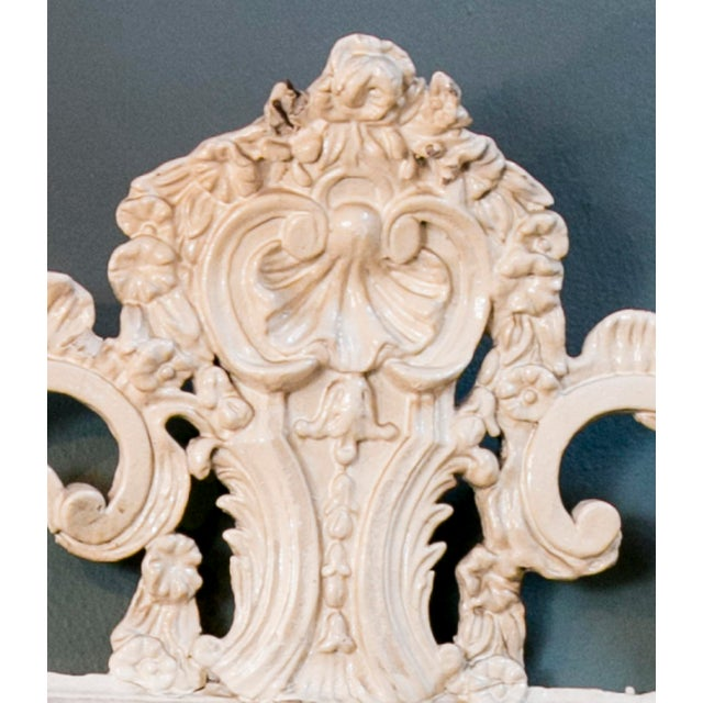 Glamorous Creamy-White Over-Painted Rococo Hand-Carved Wood Mirror, circa 1900 For Sale - Image 5 of 5