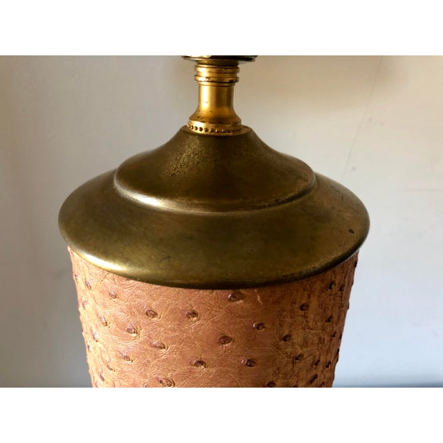 Mid Century Ostrich Leather Brass Lamp For Sale - Image 4 of 7