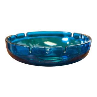 Vintage Blue Glass Blenko Ashtray For Sale