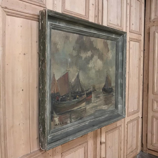 Mid-Century Framed Oil Painting on Canvas by Hubert De Vries For Sale - Image 9 of 11