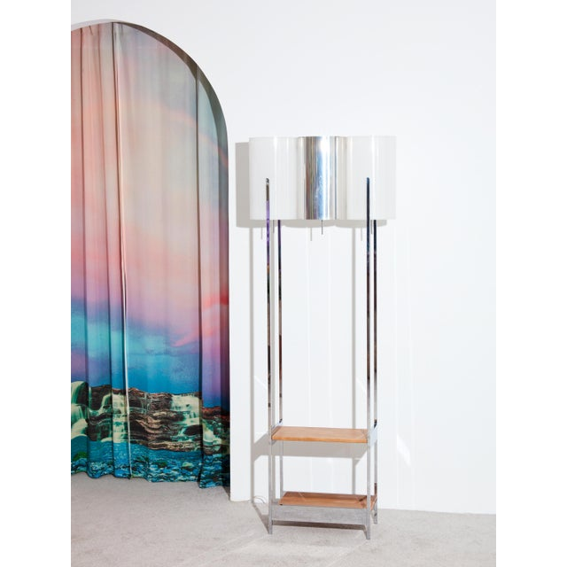 1970s Vintage 1970s Chrome Floor Lamp with Shelves For Sale - Image 5 of 5
