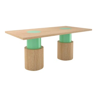 Contemporary 102C Dining Table in Oak and Mint by Orphan Work, 2020 For Sale