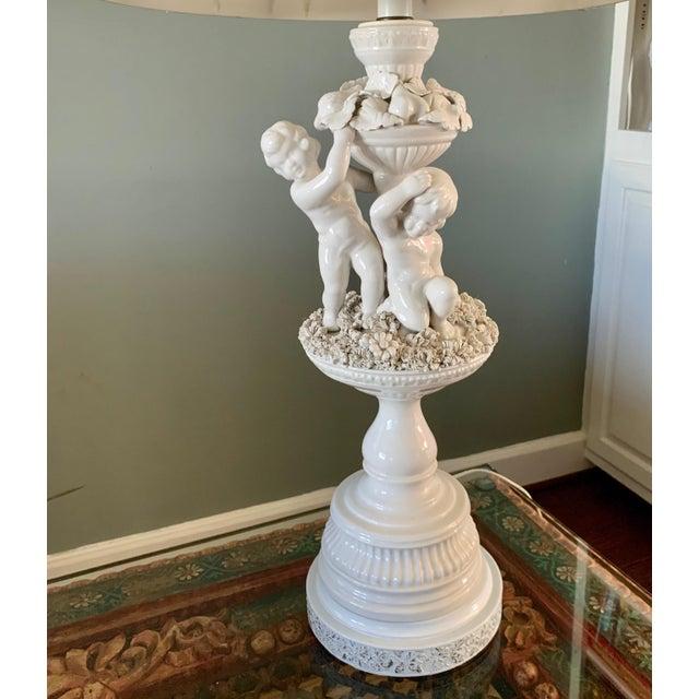 Ceramic Vintage Porcelain Cherub With Floral Table Lamp For Sale - Image 7 of 9