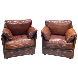 Italian Midcentury Leather Armchairs, 1960s For Sale