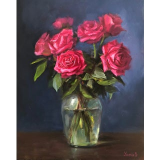 Ampersand Gessobord Roses Still Life Oil Painting For Sale