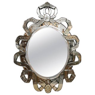 Venetian Etched Ribbon Design Wall Mirror For Sale