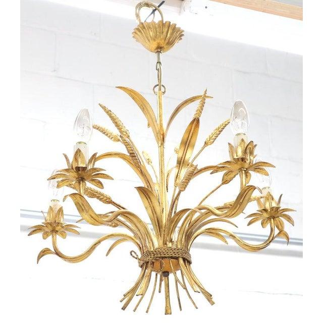 1970s Gold Gilt Metal Cattail Sheaf Light Fixture Chandelier For Sale - Image 5 of 9