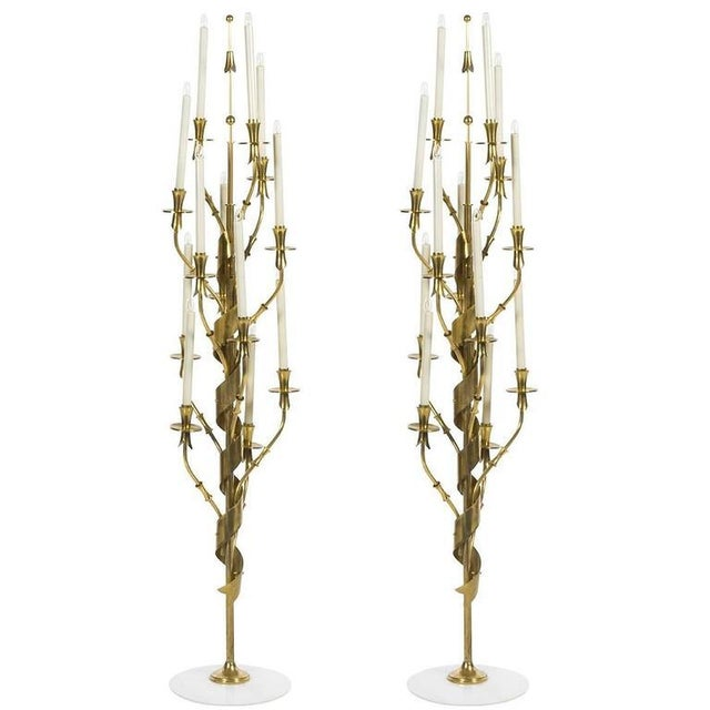 1960s Mid-Century Modern Stilnovo Brass and Marble Floor Lamps - a Pair For Sale In Houston - Image 6 of 6