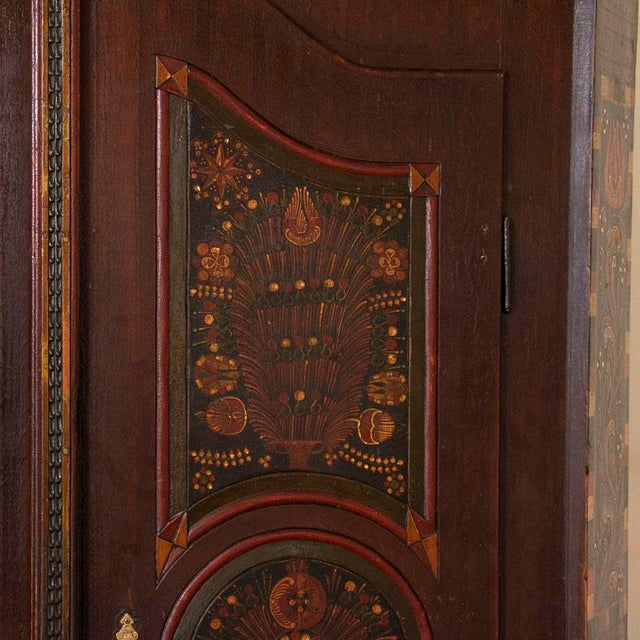 Antique 2 Door Hungarian Armoire With Original Folk Art Paint For Sale - Image 10 of 13