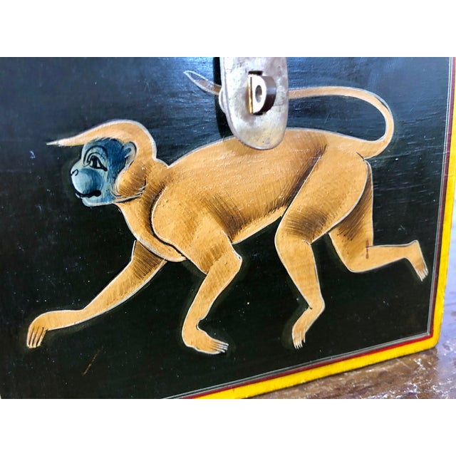 Green Hand Painted Green Yellow Wood Monkey Chest For Sale - Image 8 of 9