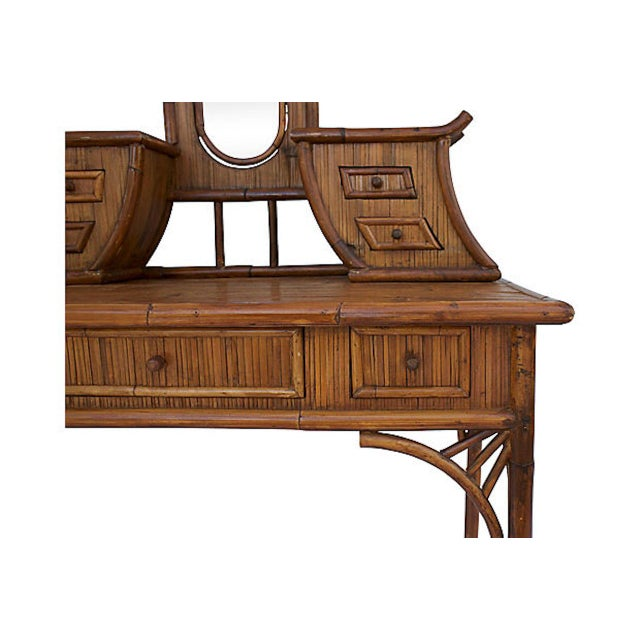 Chinoiserie Rattan Vanity For Sale - Image 4 of 9