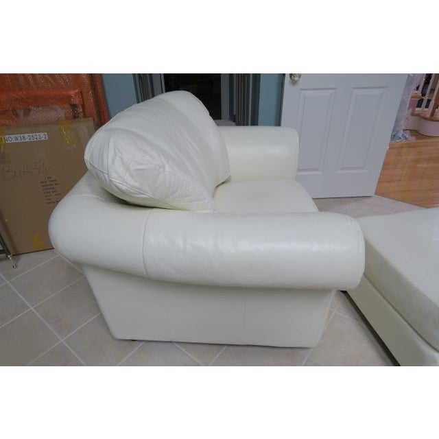 2010s Art Deco White Leather Chair & Ottoman - 2 Pieces For Sale - Image 5 of 10