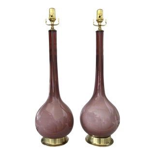 1950s Purple Cased Murano Glass Table Lamps - a Pair For Sale