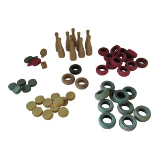 Vintage Carrom Board Game Pieces-55 Pieces For Sale